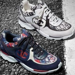 Chanel Graffiti Suede Canvas Trainer Sneakers